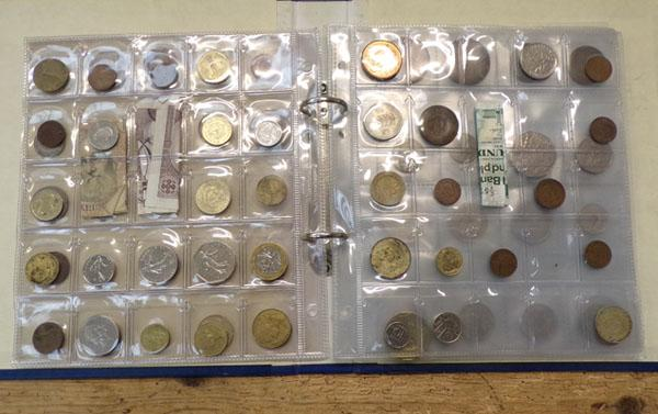 Album of mixed British & World coins, some notes - in display pockets, blue album
