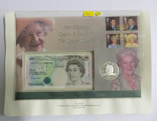 First day cover, Her Majesty the Queen Mother silver coin + bank note