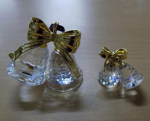 Two Swarovski crystals - large pair of bells + small pair of bells