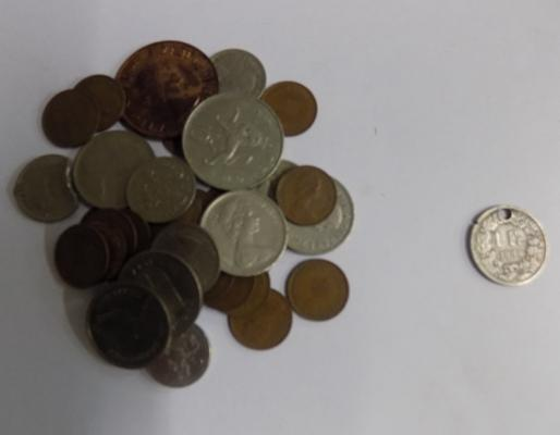 Selection of coins, incl. 1 franc, 1886, silver coin
