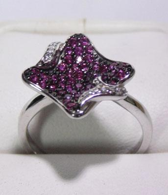 925 silver rubylite modernist ring - size P1/2
