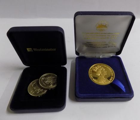 2 x two pound coins + 22ct gold plated collector's coin