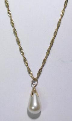 "9ct gold 18"" rope twist chain with 9ct gold pearl drop pendant"