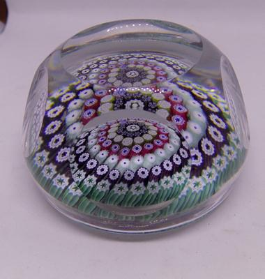 Vintage Whitefriars faceted glass paperweight Millifioria dated and signed 1976