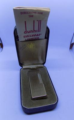 Vintage boxed Dunhill Rolagas gold plated lighter with instructions. 1969