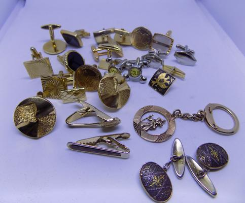 Selection of cufflinks, tie pins, keyring etc.