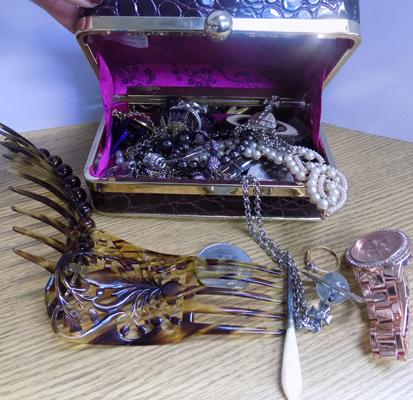 Box of costume jewellery including watches