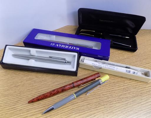Selection of pens, pencils, some boxed, including Parker
