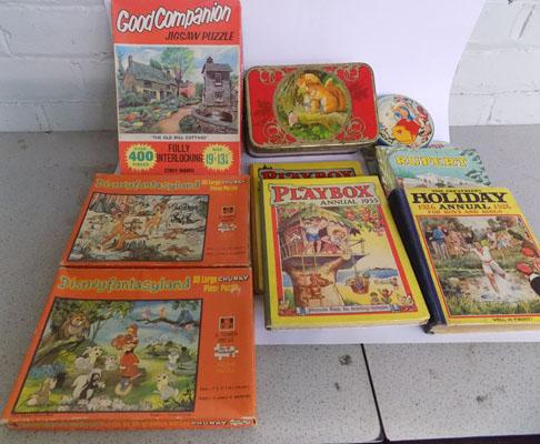 Box of vintage children's books, tins and jigsaws