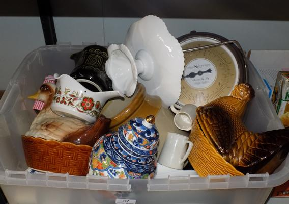 Box of kitchenalia incl hen basket, Shelley cake stand, retro Salter scales etc