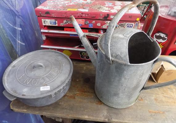 Galvanised watering can and one other