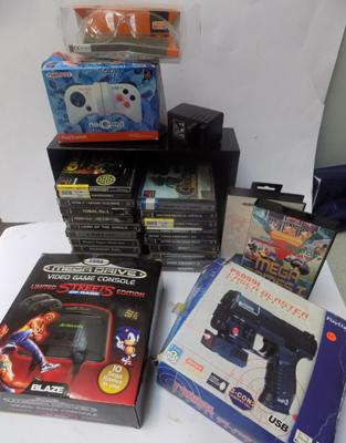 PS1 & Megadrive Collection, games & controllers
