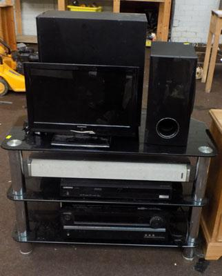 TV stand with TV, DVD, speakers & others - W/O