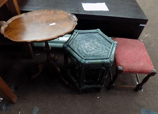 3 x items of small furniture, incl. wing table/conservatory set x 2/stool