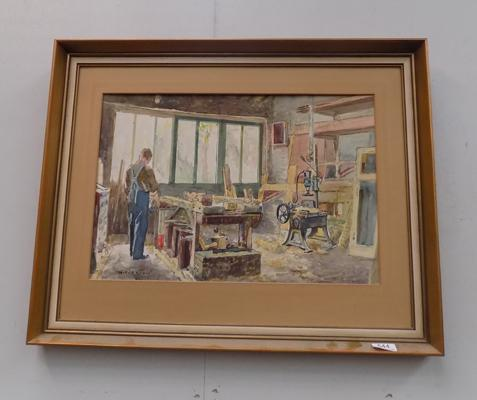 Framed watercolour of workshop scene signed by W.F. Briggs