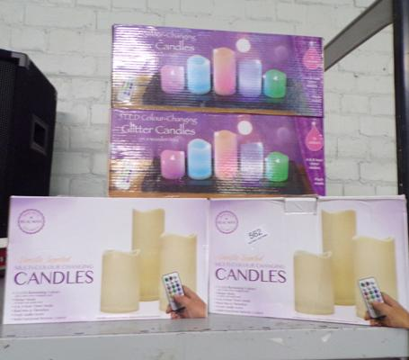 Eight sets of novelty candles