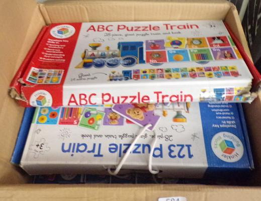 Box of new kid's puzzles