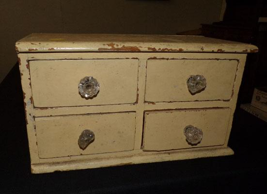 Vintage desk top set of four drawers, one with broken handle