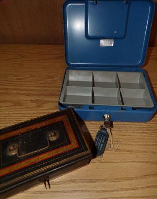 Two money/cash boxes with keys