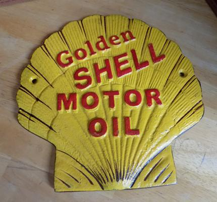Vintage style SHELL Motor Oil cast iron plaque
