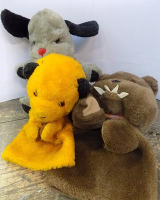 Old Butch the Dog glove puppet from Sooty, Sooty Glove Puppet (Happy Toys) & Sweep Glove puppet