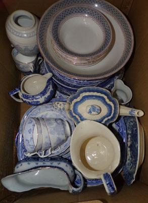 Selection of blue & white pottery, incl. Spode