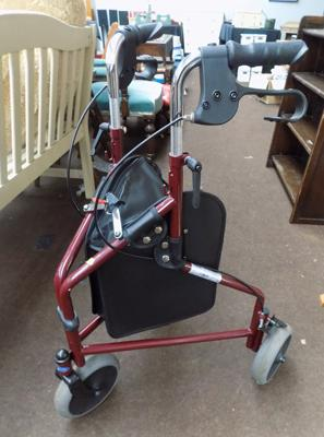 Disability three wheeled walker with brakes