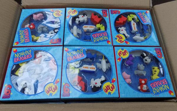 Box of new 4 packs of 6 novelty erasers