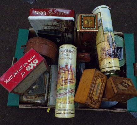 Selection of old tins, incl. OXO etc...