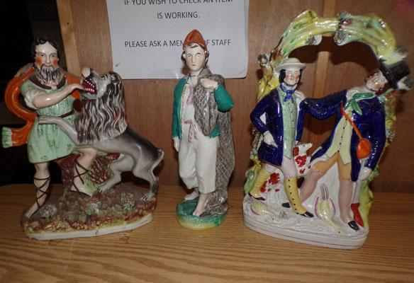 Three Staffordshire style figures with damage