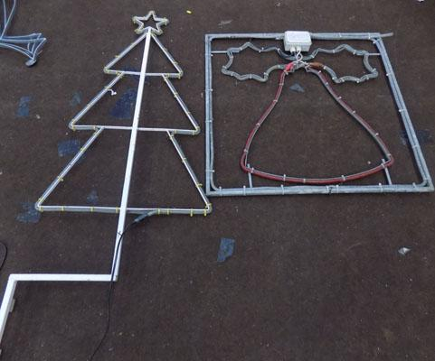 Christmas tree lights on frame + one novelty light (tree 56 inches tall)