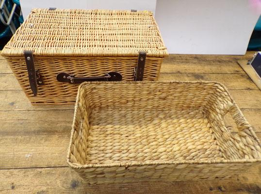 Large picnic hamper with leather straps - 20 x 14 x 10 inches, + one open basket