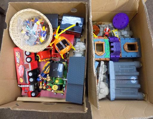 Two boxes of mixed toys