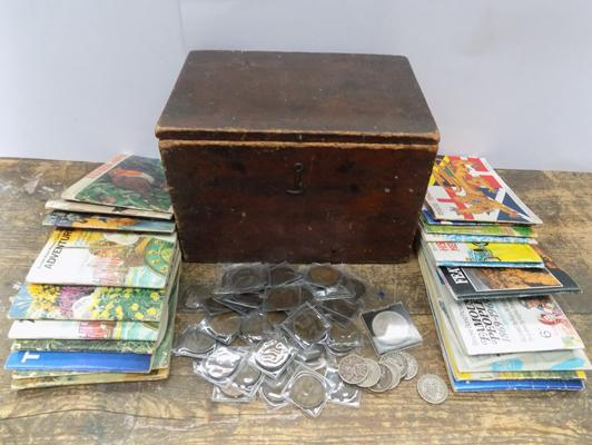 Vintage treen lidded box containing tea card sets + quantity of antique coins