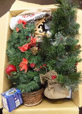 Large box of Christmas items