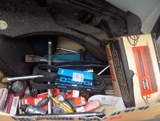 Box of car parts - jacks charger, tools etc...