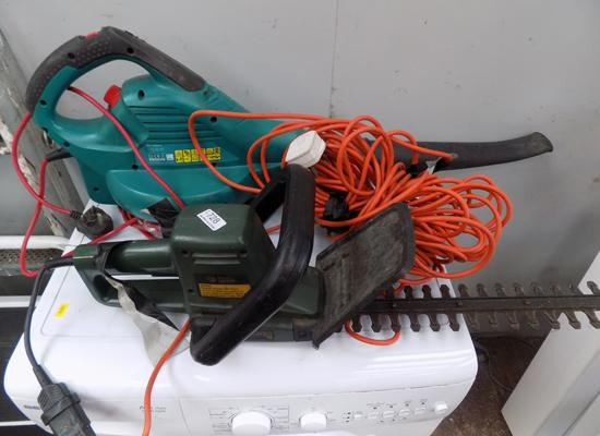Black and Decker hedge trimmer and Bosch leaf blower