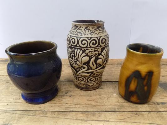 Denby vase and 2 other studio pieces