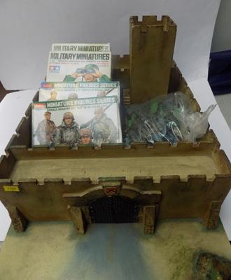 Vintage wooden fort with soldiers & models