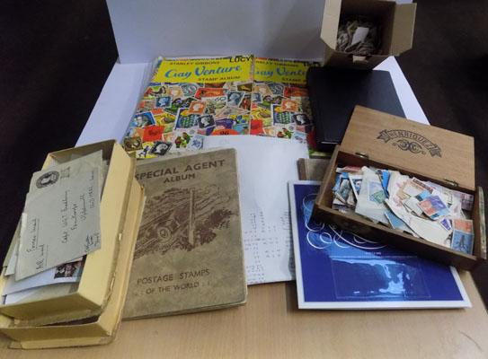 Box of world wide stamp albums incl. covers, loose stamps