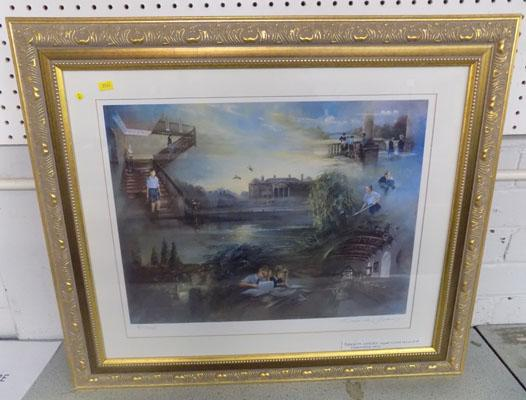 Roderick Lovesey 'Foremarke Hall' signed Limited Edition print in gilt frame