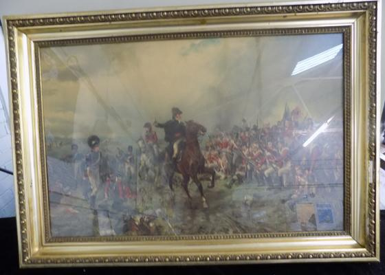 "Battle of Waterloo, gold framed picture (90"" x 26"")"
