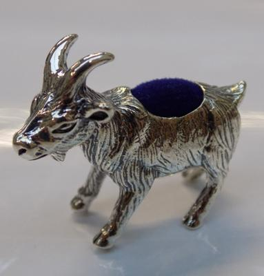 Silver goat pin cushion