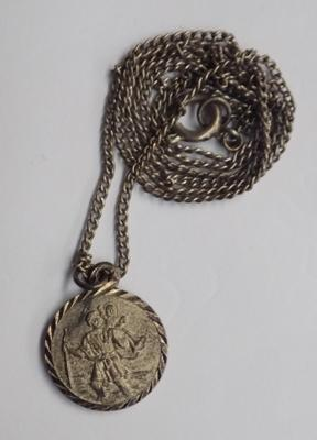 Vintage silver St. Christopher pendant on silver chain