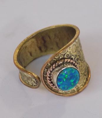 Gold on silver unusual opal ring