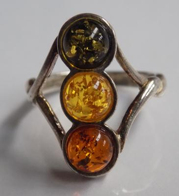 Silver & amber trilogy ring