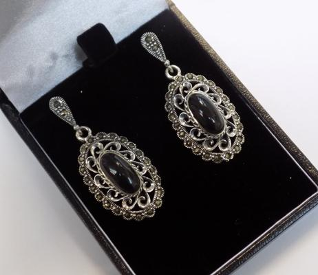 Pair of silver jet & marcasite earrings