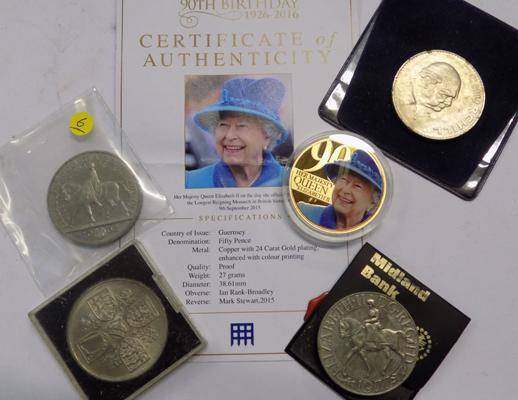 Selection of collectable coins, incl. £5 coin & the Queen's 90th Birthday commemorative coin