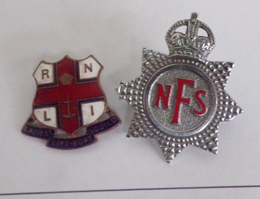 Vintage RNLI lifeboat badge and NFS badge