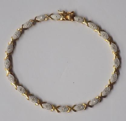 Gold on silver diamond bracelet
